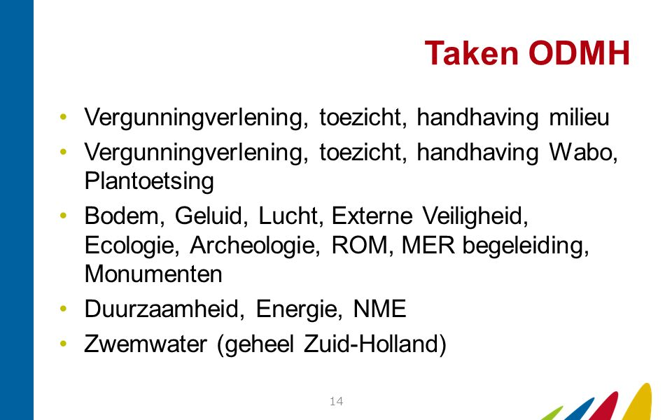 Taken ODMH Vergunningverlening, toezicht, handhaving milieu Vergunningverlening, toezicht, handhaving Wabo, Plantoetsing Bodem, Geluid, Lucht, Externe