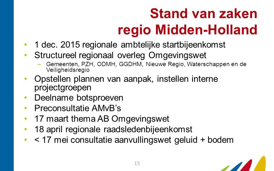Stand van zaken regio Midden-Holland 1 dec. 2015 regionale ambtelijke startbijeenkomst Structureel regionaal overleg Omgevingswet –Gemeenten, PZH, ODM