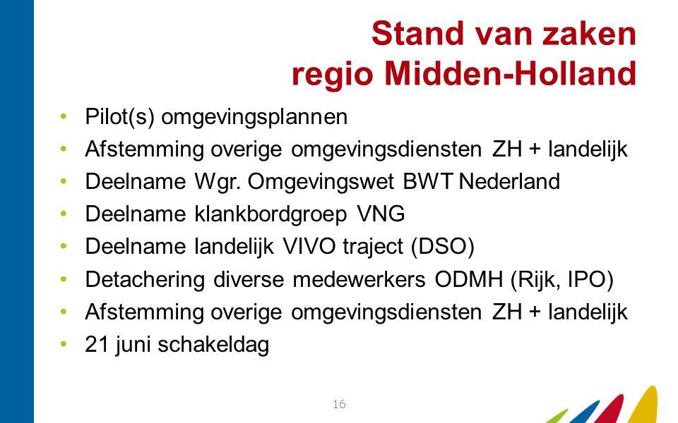 Stand van zaken regio Midden-Holland Pilot(s) omgevingsplannen Afstemming overige omgevingsdiensten ZH + landelijk Deelname Wgr. Omgevingswet BWT Nede