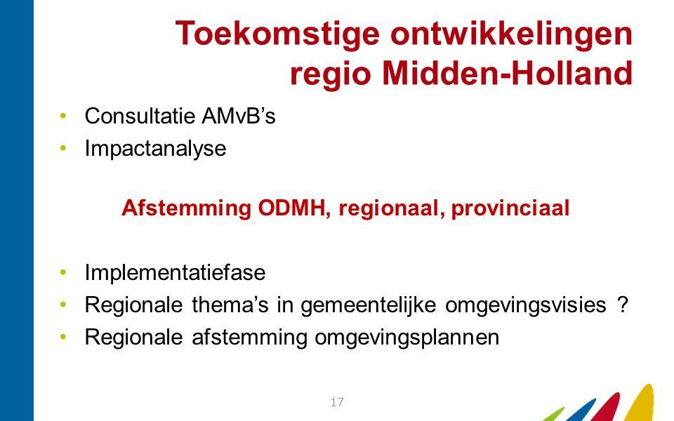 Toekomstige ontwikkelingen regio Midden-Holland Consultatie AMvB's Impactanalyse Afstemming ODMH, regionaal, provinciaal Implementatiefase Regionale t