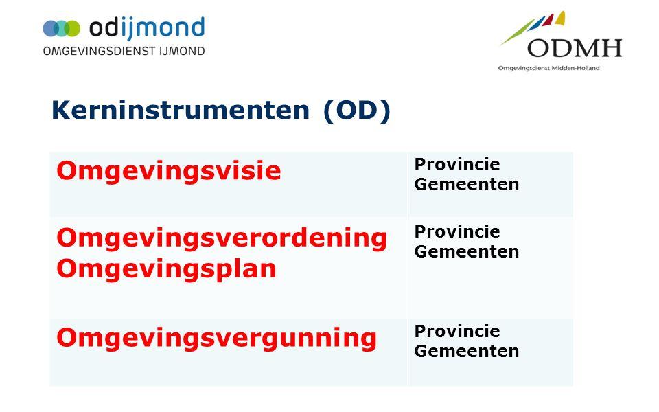 Kerninstrumenten (OD) Omgevingsvisie Provincie Gemeenten Omgevingsverordening Omgevingsplan Provincie Gemeenten Omgevingsvergunning Provincie Gemeente