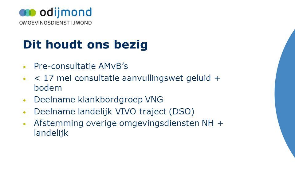 Dit houdt ons bezig Pre-consultatie AMvB's < 17 mei consultatie aanvullingswet geluid + bodem Deelname klankbordgroep VNG Deelname landelijk VIVO traj