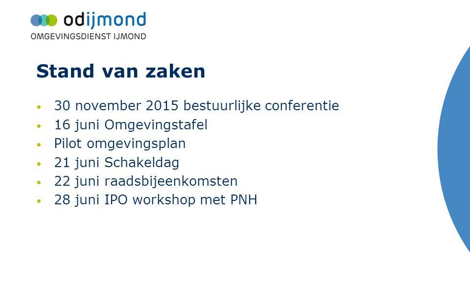 Stand van zaken 30 november 2015 bestuurlijke conferentie 16 juni Omgevingstafel Pilot omgevingsplan 21 juni Schakeldag 22 juni raadsbijeenkomsten 28