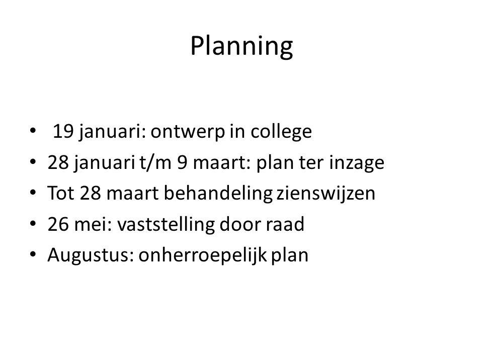 Planning 19 januari: ontwerp in college 28 januari t/m 9 maart: plan ter inzage Tot 28 maart behandeling zienswijzen 26 mei: vaststelling door raad Augustus: onherroepelijk plan