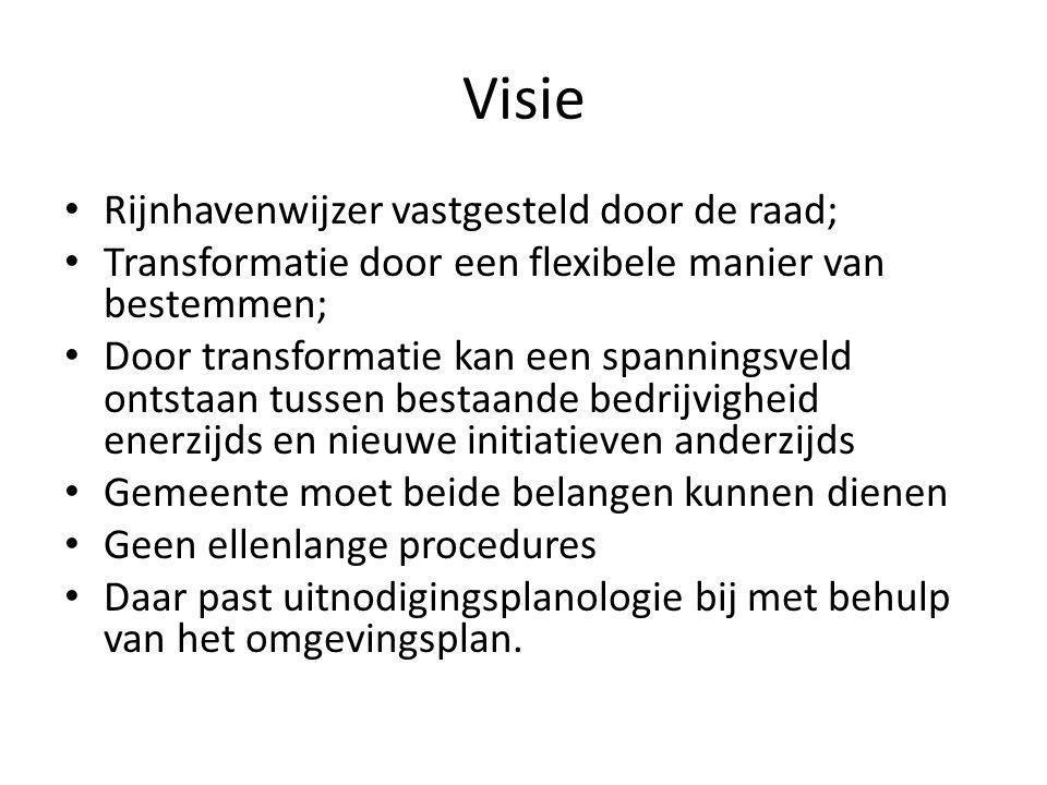 Visie Rijnhavenwijzer vastgesteld door de raad; Transformatie door een flexibele manier van bestemmen; Door transformatie kan een spanningsveld ontsta
