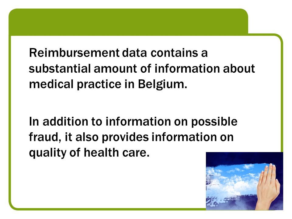 Reimbursement data contains a substantial amount of information about medical practice in Belgium. In addition to information on possible fraud, it al