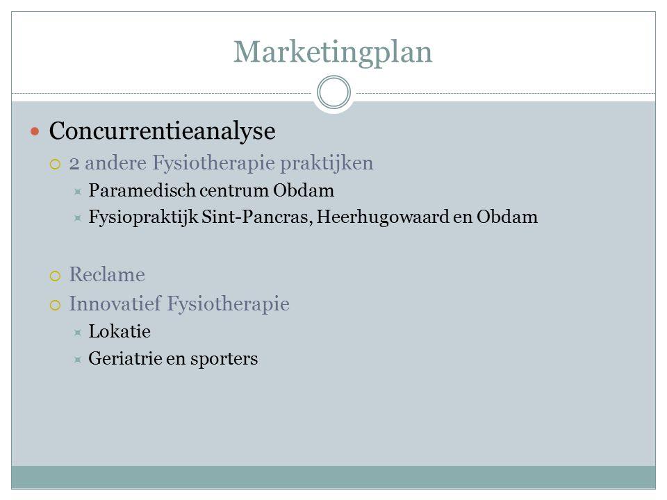 Marketingplan Concurrentieanalyse  2 andere Fysiotherapie praktijken  Paramedisch centrum Obdam  Fysiopraktijk Sint-Pancras, Heerhugowaard en Obdam  Reclame  Innovatief Fysiotherapie  Lokatie  Geriatrie en sporters