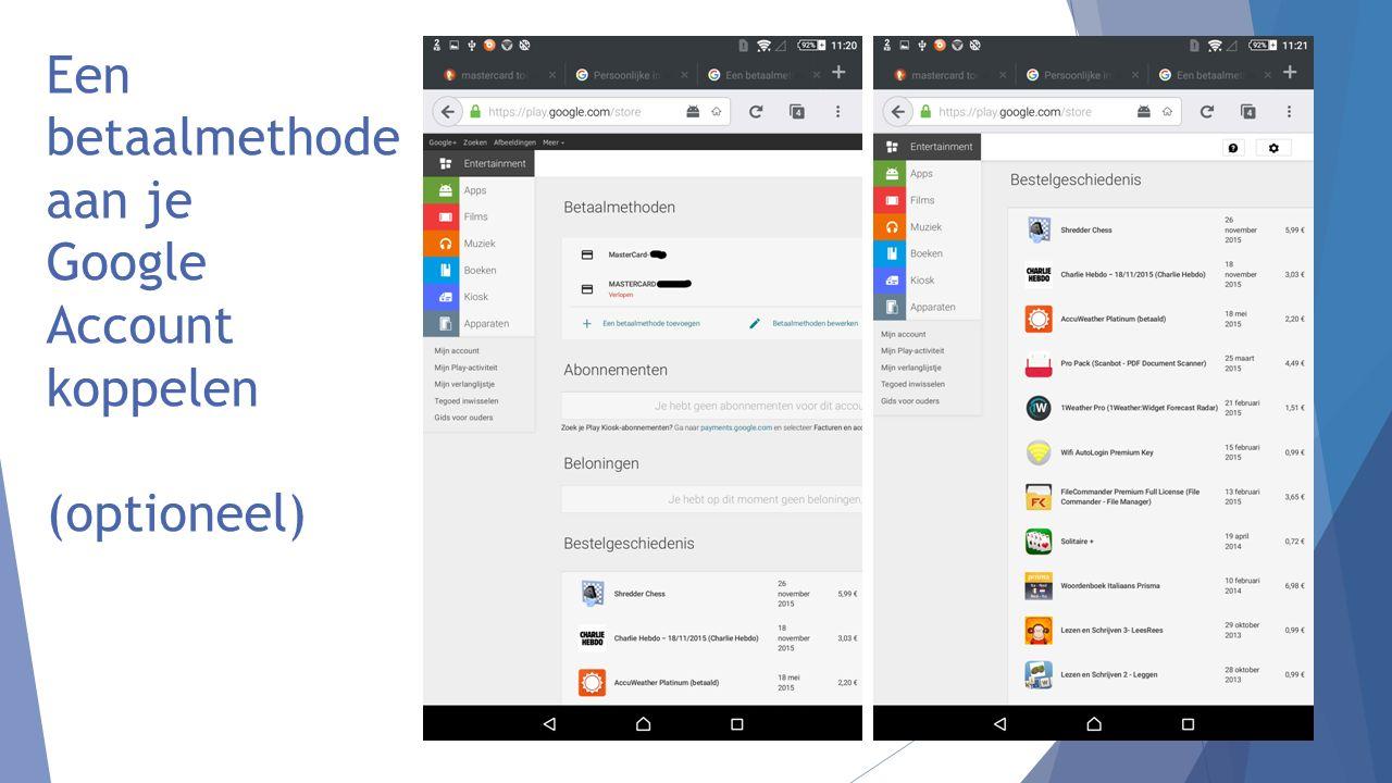 Een betaalmethode aan je Google Account koppelen (optioneel)