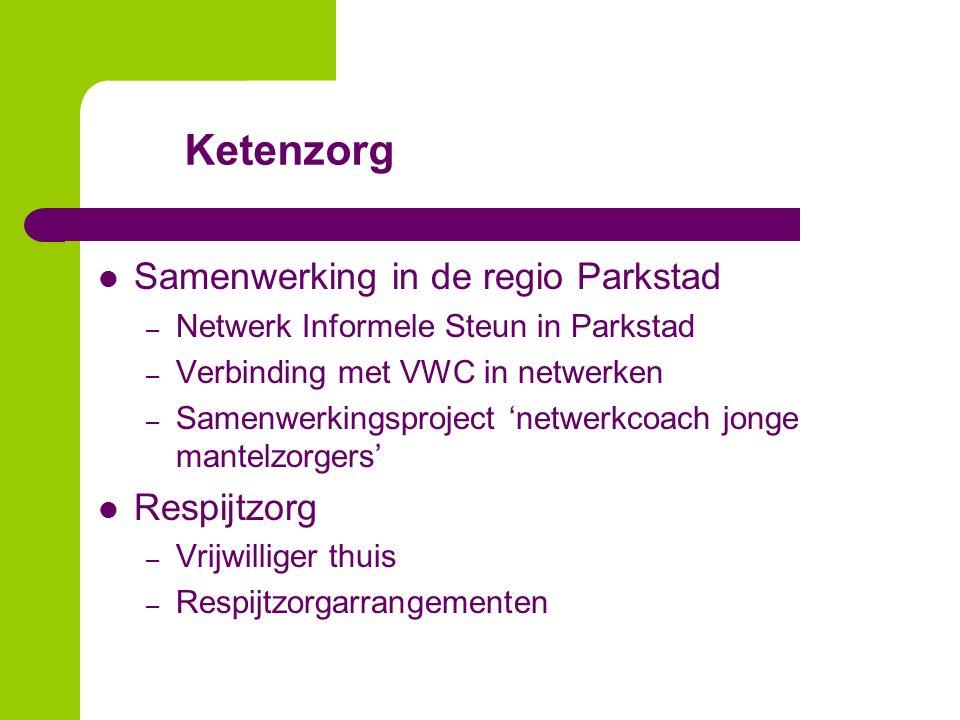 Ketenzorg Samenwerking in de regio Parkstad – Netwerk Informele Steun in Parkstad – Verbinding met VWC in netwerken – Samenwerkingsproject 'netwerkcoach jonge mantelzorgers' Respijtzorg – Vrijwilliger thuis – Respijtzorgarrangementen