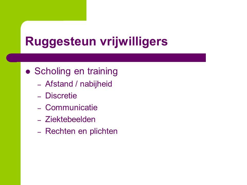 Ruggesteun vrijwilligers Scholing en training – Afstand / nabijheid – Discretie – Communicatie – Ziektebeelden – Rechten en plichten