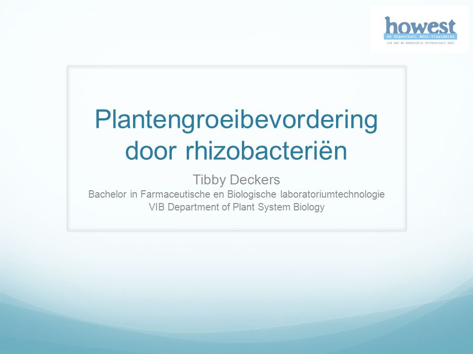 Plantengroeibevordering door rhizobacteriën Tibby Deckers Bachelor in Farmaceutische en Biologische laboratoriumtechnologie VIB Department of Plant System Biology