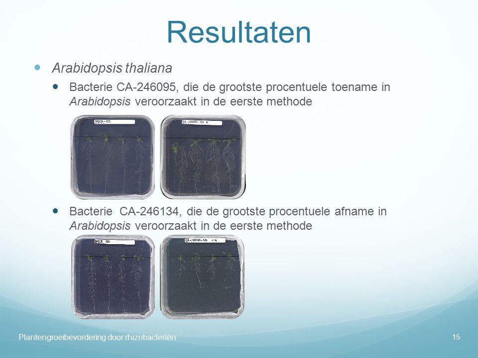 Resultaten Arabidopsis thaliana Bacterie CA-246095, die de grootste procentuele toename in Arabidopsis veroorzaakt in de eerste methode Bacterie CA-246134, die de grootste procentuele afname in Arabidopsis veroorzaakt in de eerste methode 15 Plantengroeibevordering door rhizobacteriën