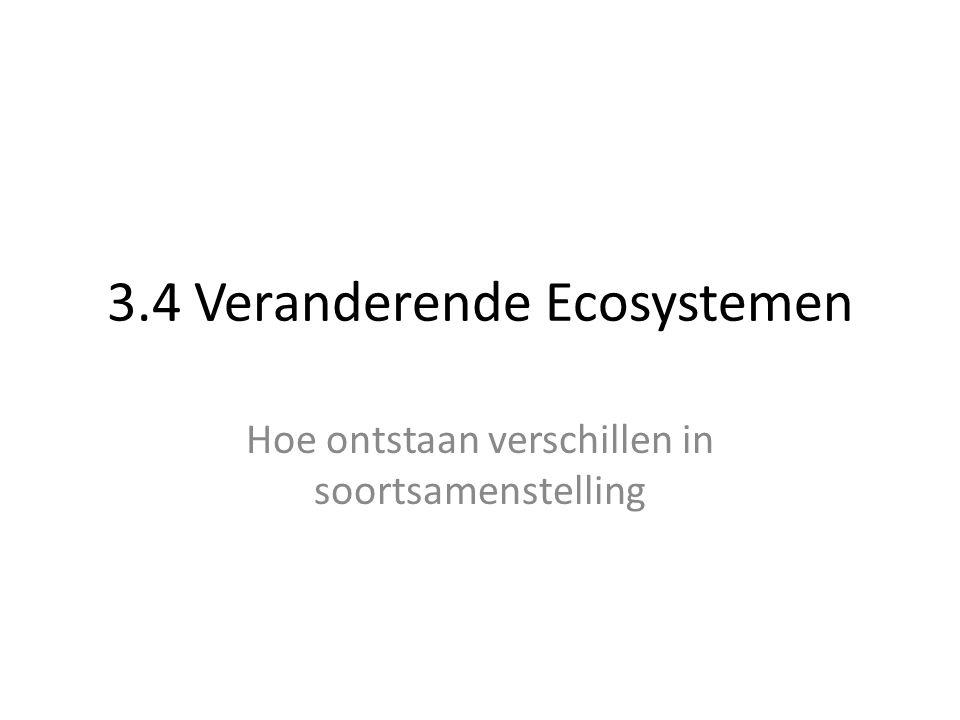 3.4 Veranderende Ecosystemen Hoe ontstaan verschillen in soortsamenstelling