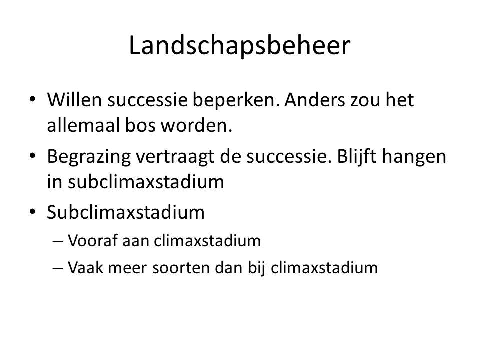 Landschapsbeheer Willen successie beperken. Anders zou het allemaal bos worden. Begrazing vertraagt de successie. Blijft hangen in subclimaxstadium Su