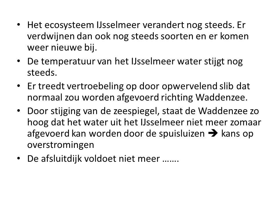 Het ecosysteem IJsselmeer verandert nog steeds. Er verdwijnen dan ook nog steeds soorten en er komen weer nieuwe bij. De temperatuur van het IJsselmee