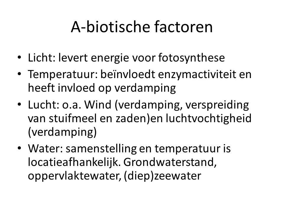 A-biotische factoren Licht: levert energie voor fotosynthese Temperatuur: beïnvloedt enzymactiviteit en heeft invloed op verdamping Lucht: o.a. Wind (