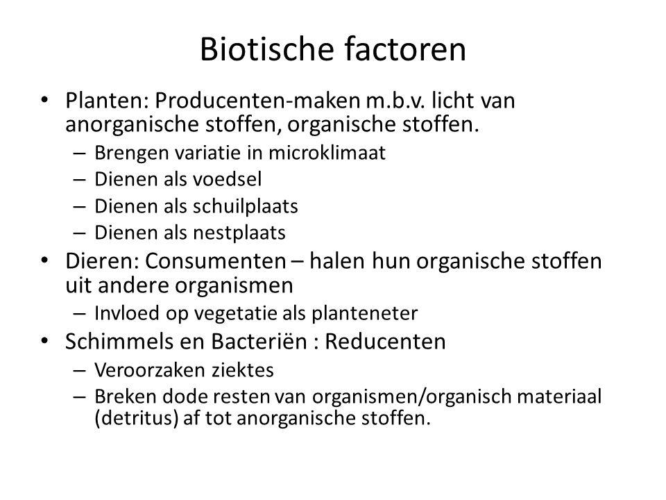 Biotische factoren Planten: Producenten-maken m.b.v. licht van anorganische stoffen, organische stoffen. – Brengen variatie in microklimaat – Dienen a
