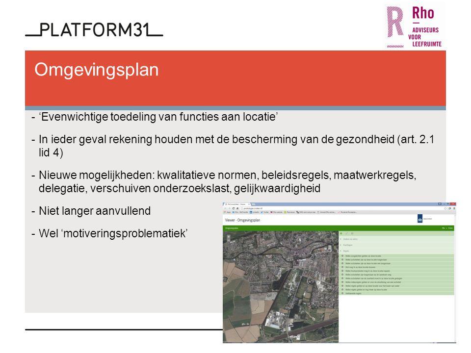 Omgevingsplan -'Evenwichtige toedeling van functies aan locatie' -In ieder geval rekening houden met de bescherming van de gezondheid (art.
