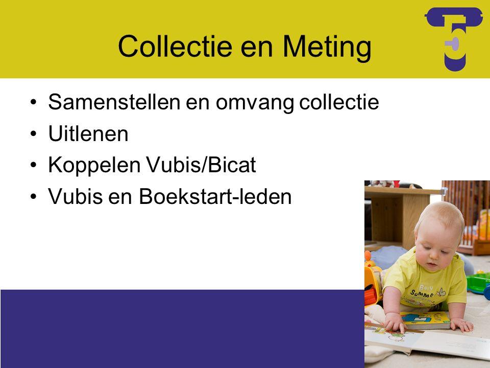 Collectie en Meting Samenstellen en omvang collectie Uitlenen Koppelen Vubis/Bicat Vubis en Boekstart-leden