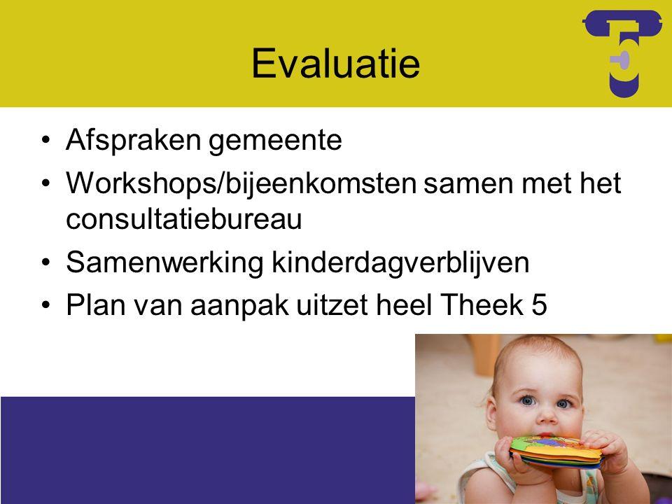 Evaluatie Afspraken gemeente Workshops/bijeenkomsten samen met het consultatiebureau Samenwerking kinderdagverblijven Plan van aanpak uitzet heel Theek 5