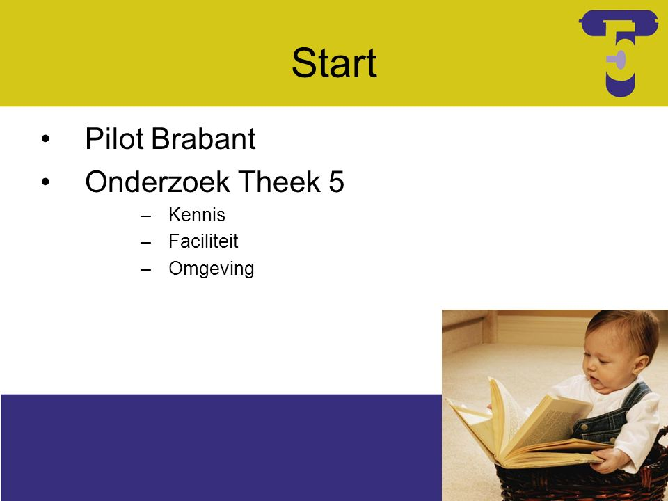 Start Pilot Brabant Onderzoek Theek 5 –Kennis –Faciliteit –Omgeving