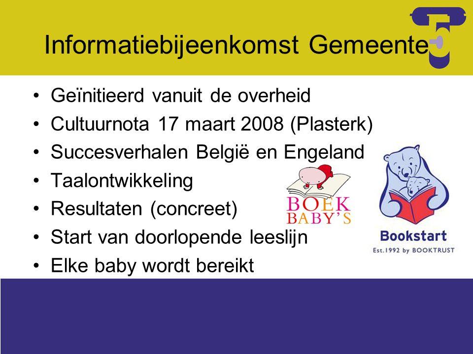 Besluit gemeente Pilot voor alle baby's geboren in 2008 Wel ondersteuning, maar geen verantwoordelijkheden G'berg Vrijgeven adressen via college B&W