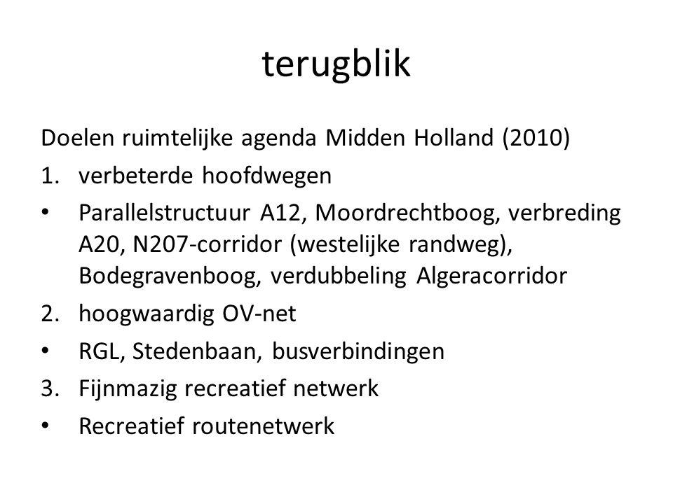 terugblik Doelen ruimtelijke agenda Midden Holland (2010) 1.verbeterde hoofdwegen Parallelstructuur A12, Moordrechtboog, verbreding A20, N207-corridor (westelijke randweg), Bodegravenboog, verdubbeling Algeracorridor 2.hoogwaardig OV-net RGL, Stedenbaan, busverbindingen 3.Fijnmazig recreatief netwerk Recreatief routenetwerk