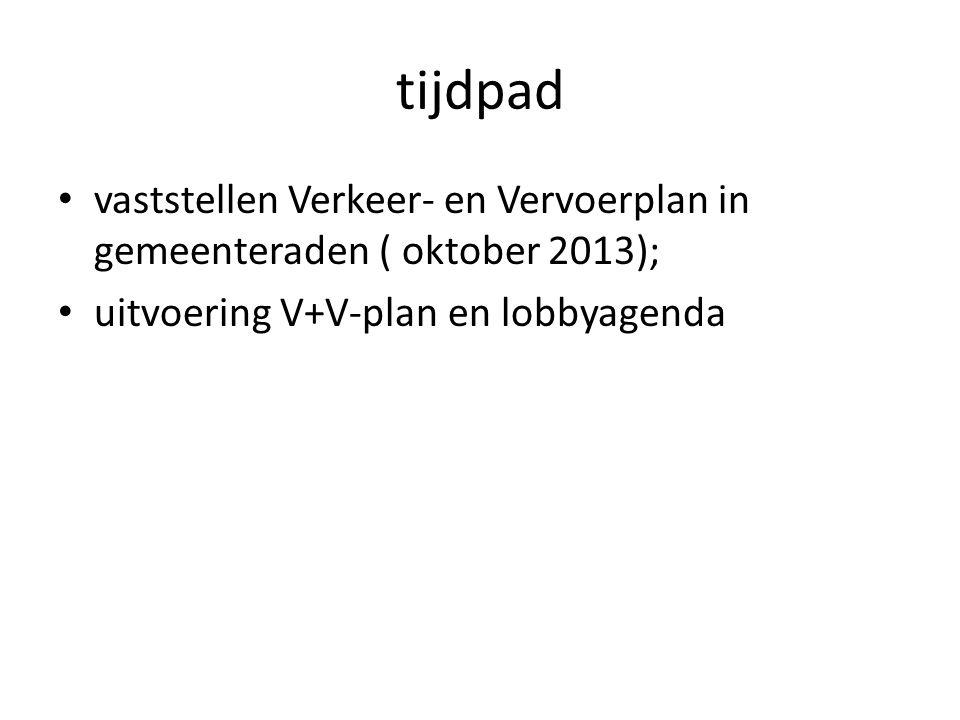 tijdpad vaststellen Verkeer- en Vervoerplan in gemeenteraden ( oktober 2013); uitvoering V+V-plan en lobbyagenda