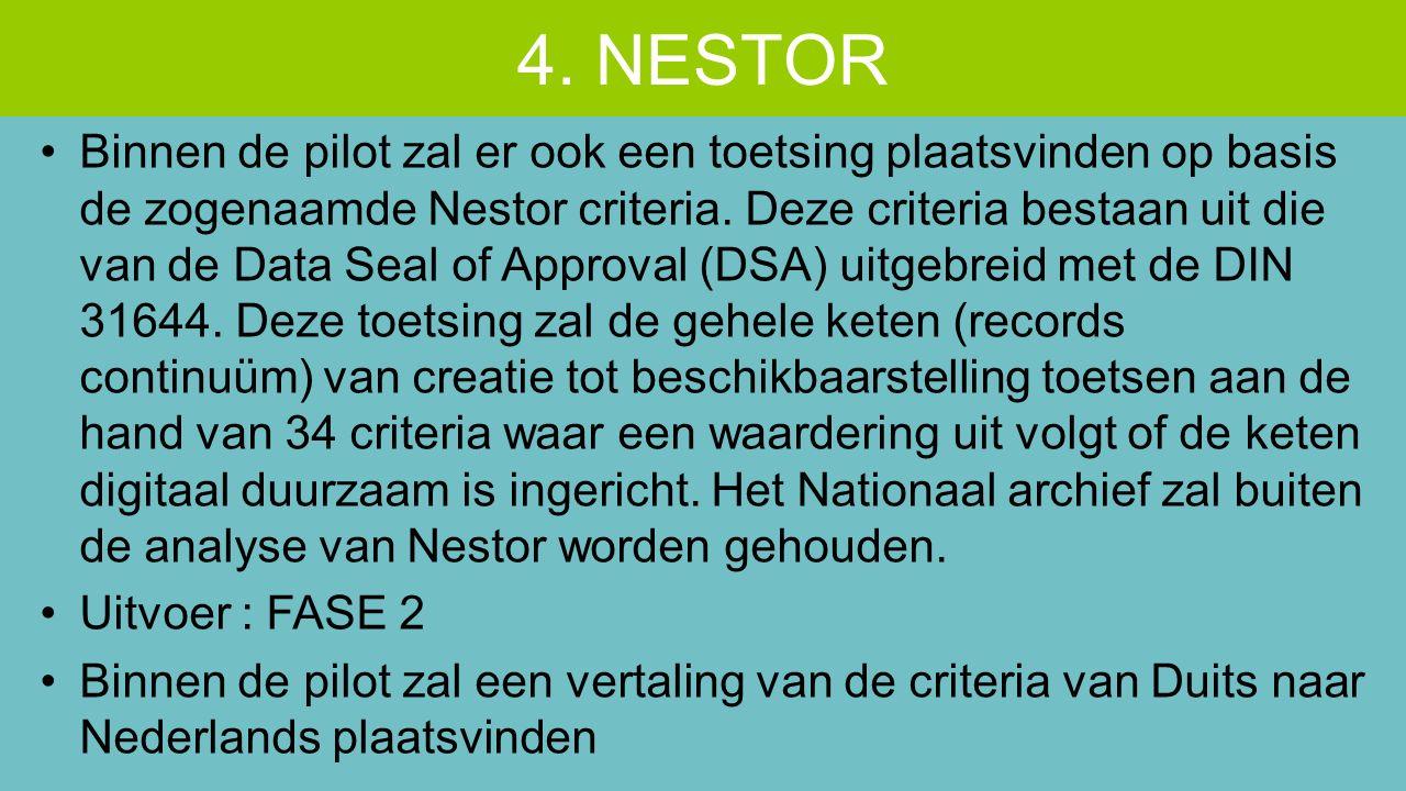 Binnen de pilot zal er ook een toetsing plaatsvinden op basis de zogenaamde Nestor criteria. Deze criteria bestaan uit die van de Data Seal of Approva