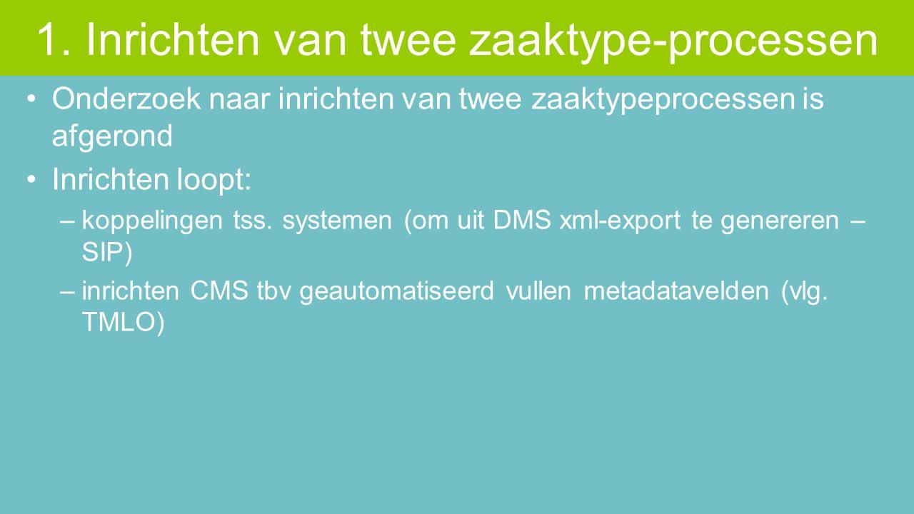 Onderzoek naar inrichten van twee zaaktypeprocessen is afgerond Inrichten loopt: –koppelingen tss. systemen (om uit DMS xml-export te genereren – SIP)