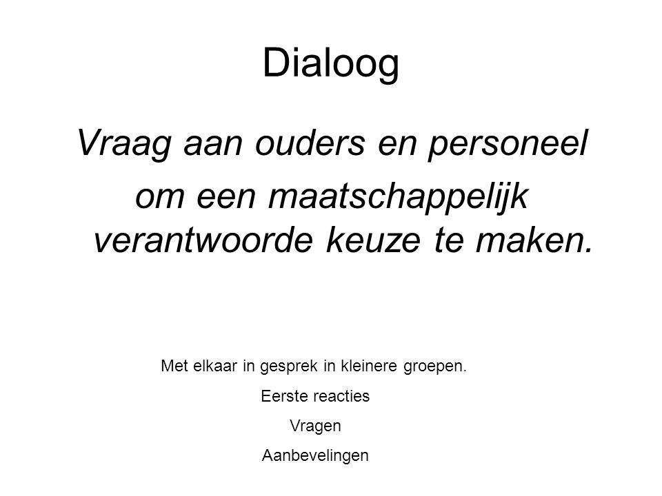 Dialoog Vraag aan ouders en personeel om een maatschappelijk verantwoorde keuze te maken.