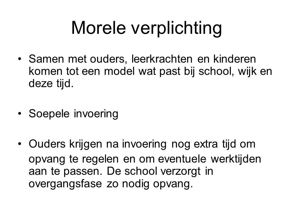 Morele verplichting Samen met ouders, leerkrachten en kinderen komen tot een model wat past bij school, wijk en deze tijd.