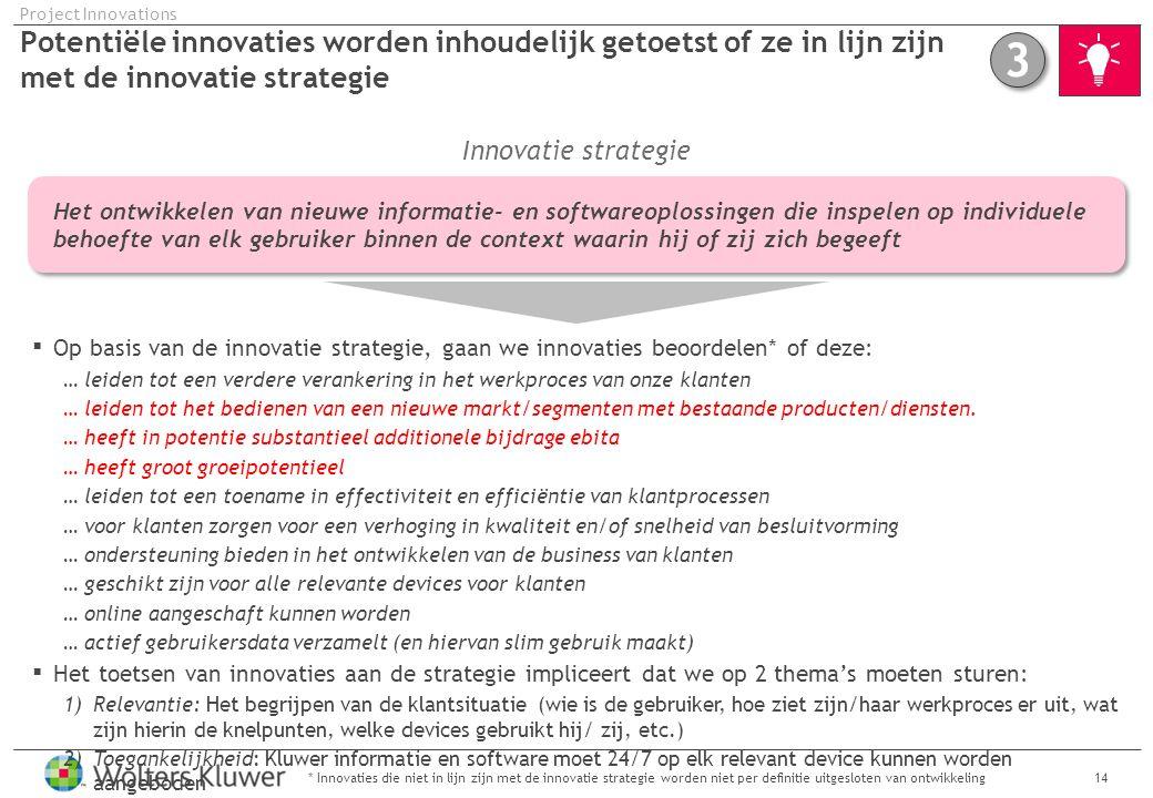 Potentiële innovaties worden inhoudelijk getoetst of ze in lijn zijn met de innovatie strategie 14* Innovaties die niet in lijn zijn met de innovatie strategie worden niet per definitie uitgesloten van ontwikkeling Project Innovations Op basis van de innovatie strategie, gaan we innovaties beoordelen* of deze: … leiden tot een verdere verankering in het werkproces van onze klanten … leiden tot het bedienen van een nieuwe markt/segmenten met bestaande producten/diensten.