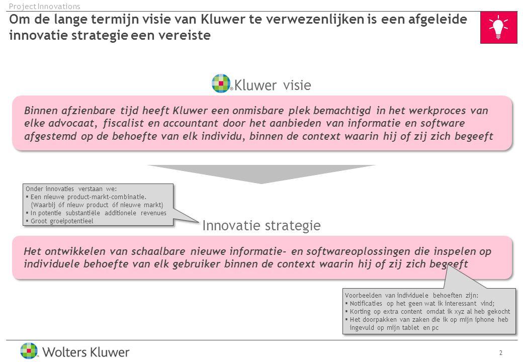 13 Project Innovations 1.Governance 2.Werkprocessen en tooling 3.Aansturing en communicatie 4.Voorbeeld status rapport
