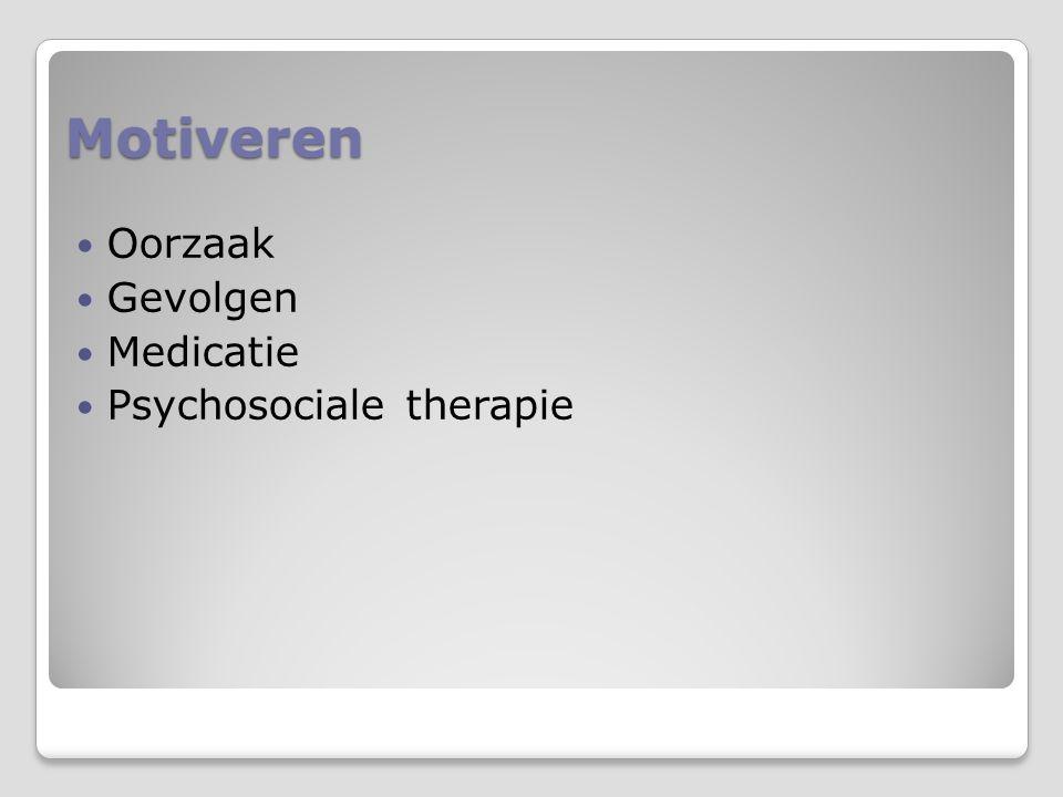 Motiveren Oorzaak Gevolgen Medicatie Psychosociale therapie