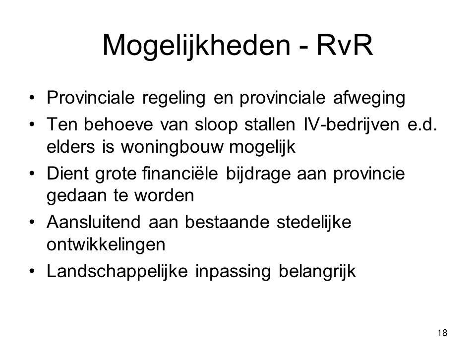 18 Mogelijkheden - RvR Provinciale regeling en provinciale afweging Ten behoeve van sloop stallen IV-bedrijven e.d. elders is woningbouw mogelijk Dien