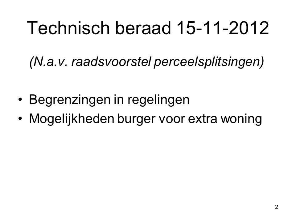 2 Technisch beraad 15-11-2012 (N.a.v. raadsvoorstel perceelsplitsingen) Begrenzingen in regelingen Mogelijkheden burger voor extra woning