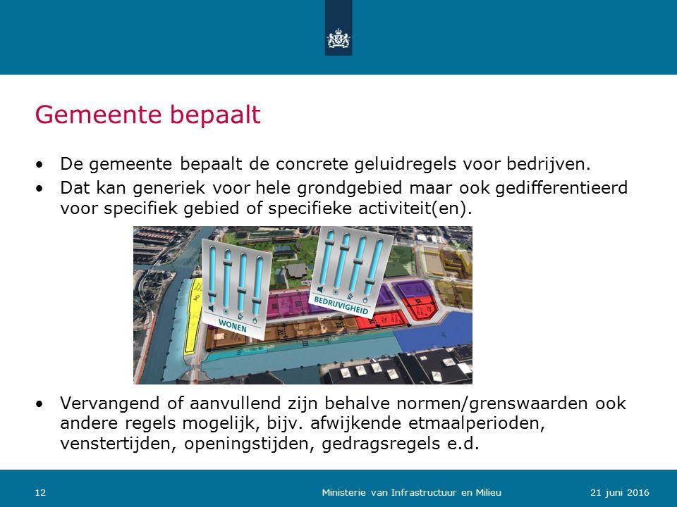 Gemeente bepaalt De gemeente bepaalt de concrete geluidregels voor bedrijven.