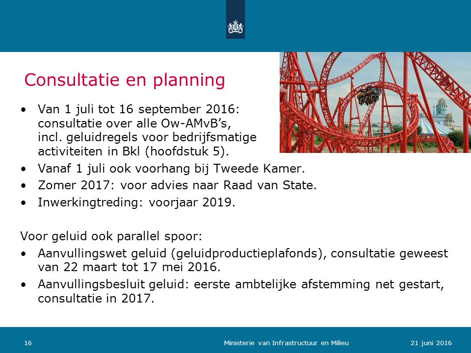 Van 1 juli tot 16 september 2016: consultatie over alle Ow-AMvB's, incl.