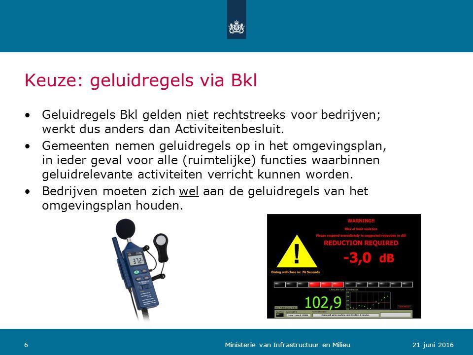 Keuze: geluidregels via Bkl Geluidregels Bkl gelden niet rechtstreeks voor bedrijven; werkt dus anders dan Activiteitenbesluit.