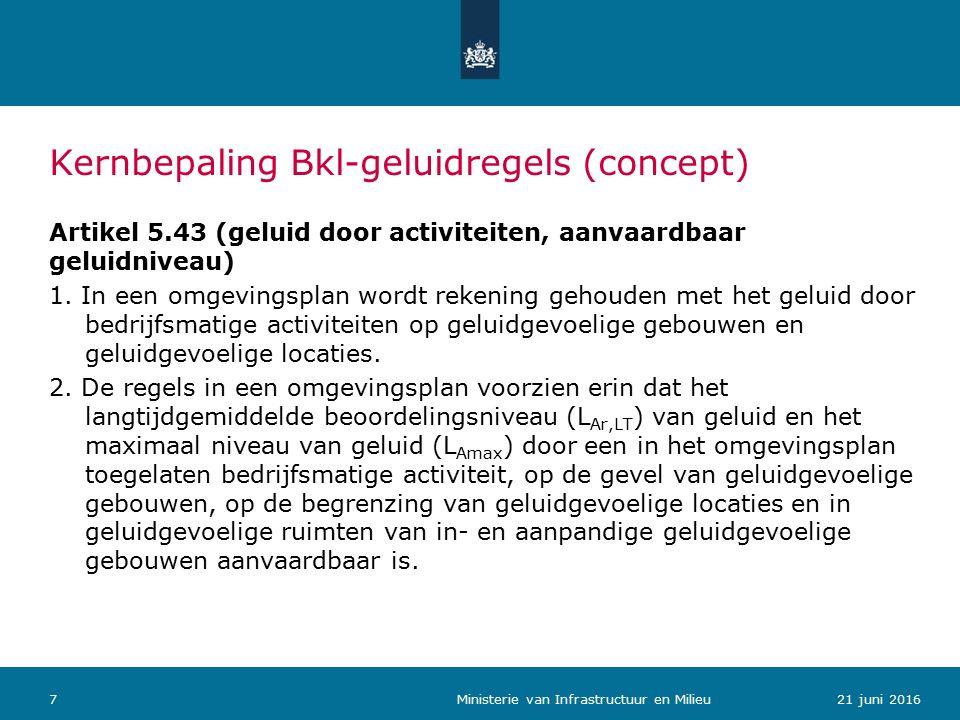 Kernbepaling Bkl-geluidregels (concept) Artikel 5.43 (geluid door activiteiten, aanvaardbaar geluidniveau) 1.