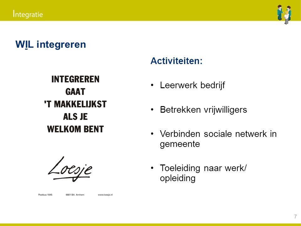 WIL integreren Activiteiten: Leerwerk bedrijf Betrekken vrijwilligers Verbinden sociale netwerk in gemeente Toeleiding naar werk/ opleiding 7