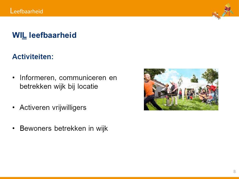 WIL leefbaarheid Activiteiten: Informeren, communiceren en betrekken wijk bij locatie Activeren vrijwilligers Bewoners betrekken in wijk 8