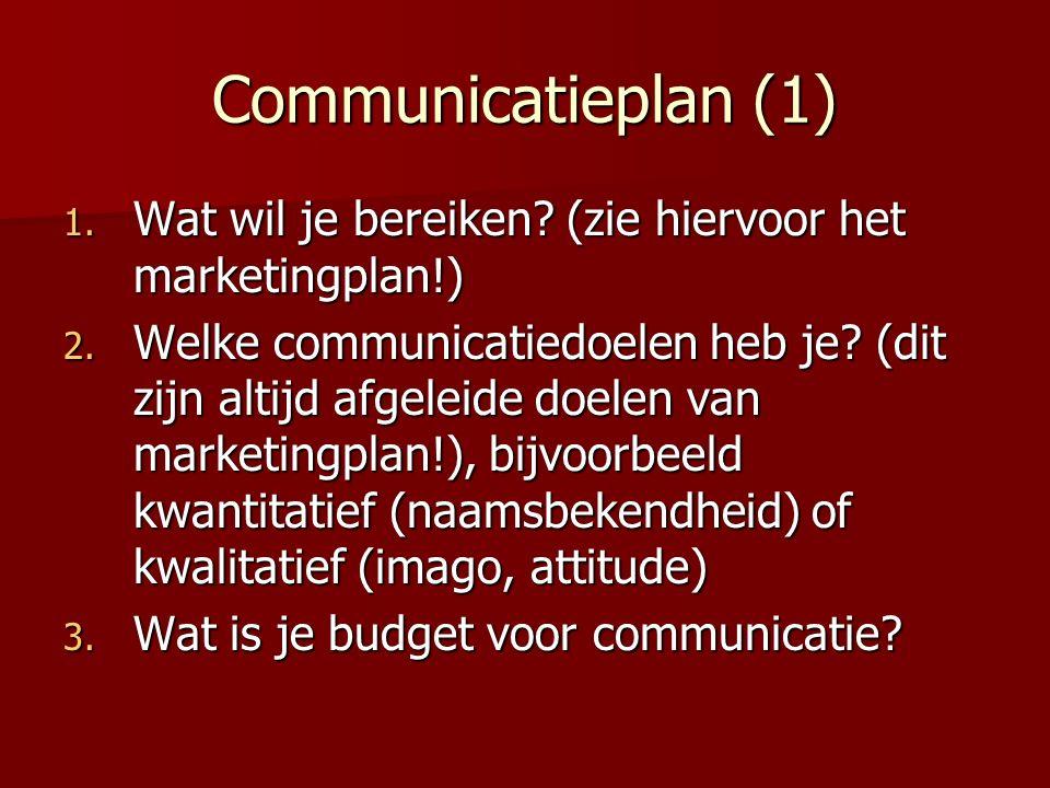 Communicatieplan (1) 1. Wat wil je bereiken. (zie hiervoor het marketingplan!) 2.
