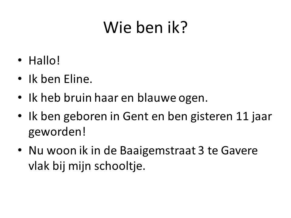 Wie ben ik? Hallo! Ik ben Eline. Ik heb bruin haar en blauwe ogen. Ik ben geboren in Gent en ben gisteren 11 jaar geworden! Nu woon ik in de Baaigemst
