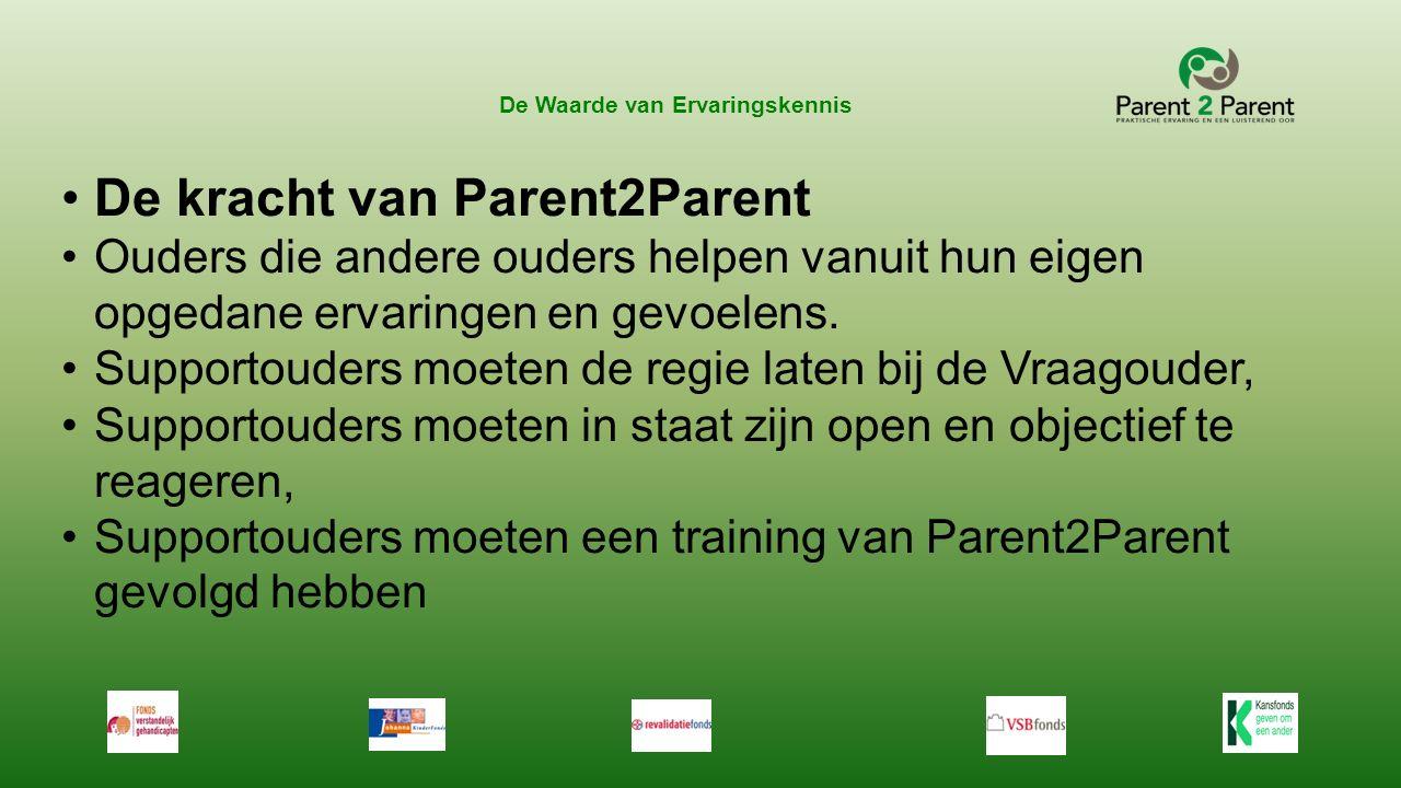 De Waarde van Ervaringskennis De kracht van Parent2Parent Ouders die andere ouders helpen vanuit hun eigen opgedane ervaringen en gevoelens. Supportou