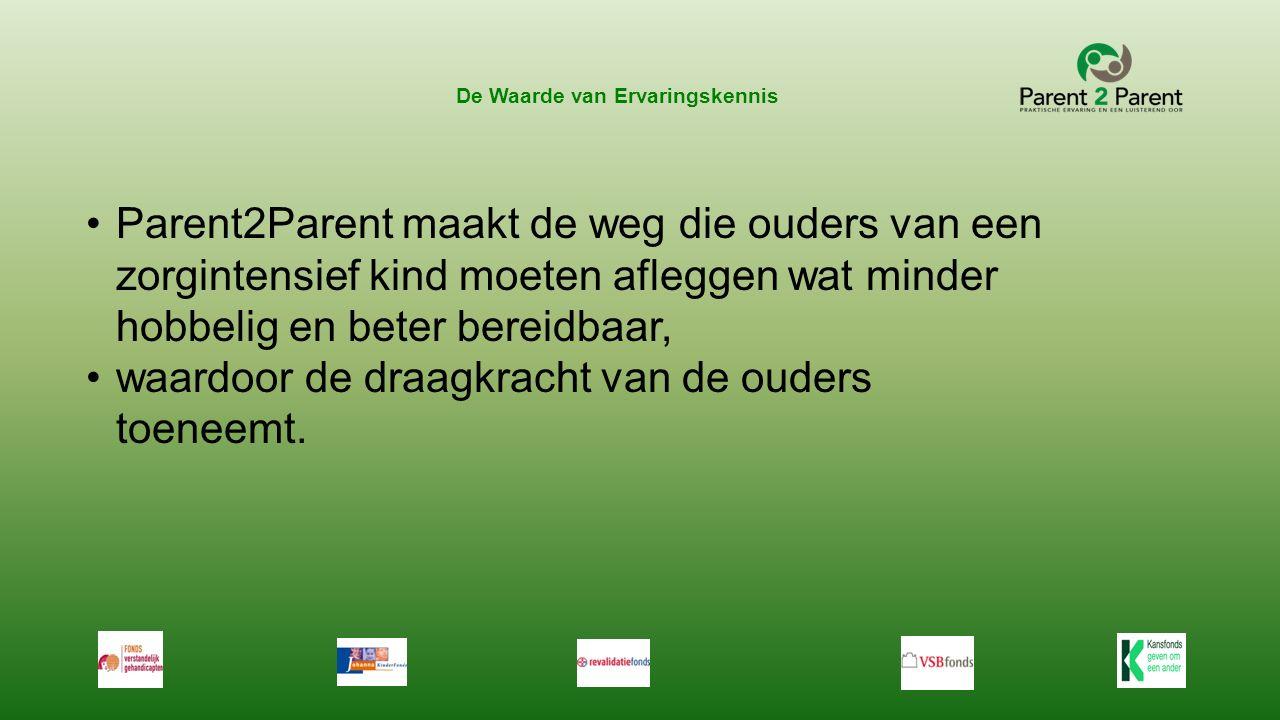 De Waarde van Ervaringskennis Parent2Parent maakt de weg die ouders van een zorgintensief kind moeten afleggen wat minder hobbelig en beter bereidbaar