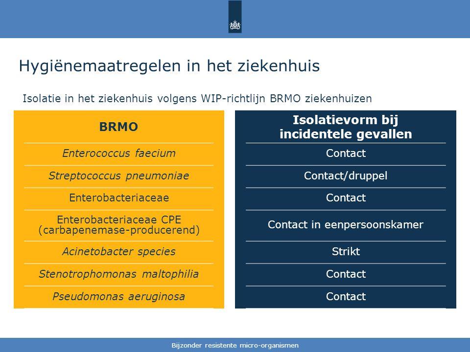 Tekst / één afbeelding Hygiënemaatregelen in het ziekenhuis Isolatie in het ziekenhuis volgens WIP-richtlijn BRMO ziekenhuizen Bijzonder resistente micro-organismen BRMO Isolatievorm bij incidentele gevallen Enterococcus faeciumContact Streptococcus pneumoniaeContact/druppel EnterobacteriaceaeContact Enterobacteriaceae CPE (carbapenemase-producerend) Contact in eenpersoonskamer Acinetobacter speciesStrikt Stenotrophomonas maltophiliaContact Pseudomonas aeruginosaContact