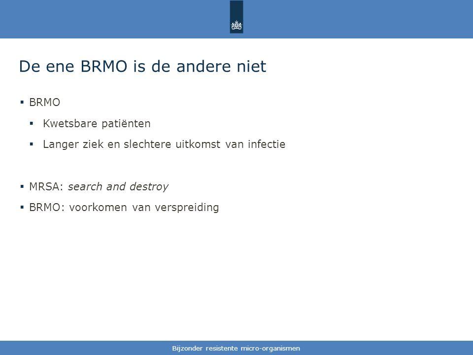 Tekst / één afbeelding De ene BRMO is de andere niet  BRMO  Kwetsbare patiënten  Langer ziek en slechtere uitkomst van infectie  MRSA: search and destroy  BRMO: voorkomen van verspreiding Bijzonder resistente micro-organismen