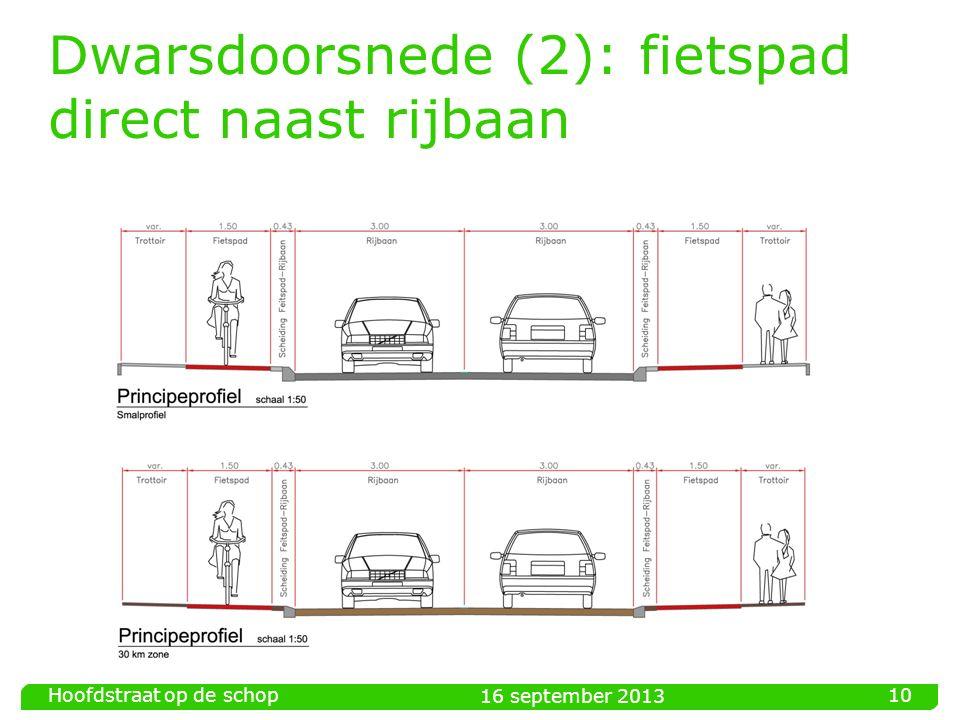 Dwarsdoorsnede (2): fietspad direct naast rijbaan 16 september 2013 Hoofdstraat op de schop 10